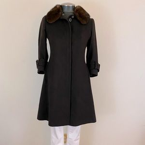 Burberry Mink Trim Cashmere Trench Coat